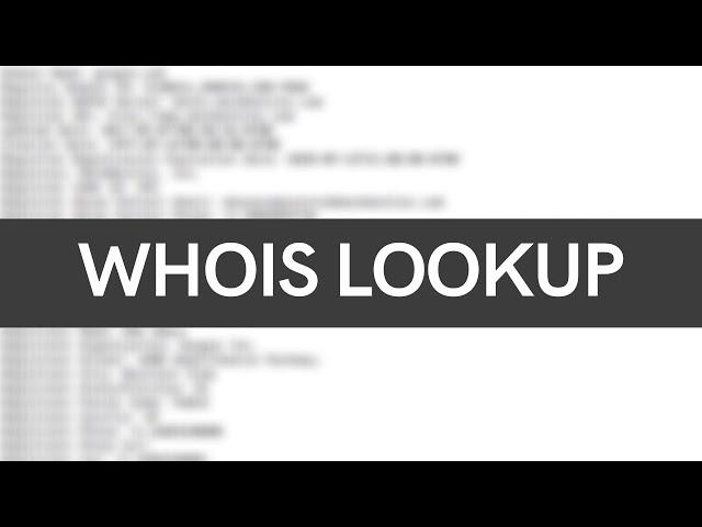 Passive Reconnaissance - Whois Lookup Tutorial