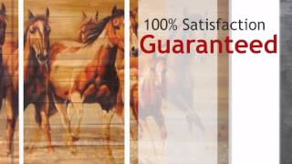 Running Horses Three Panel Wood Wall Hanging - CLEARANCE - lonestarwesterndecor.com