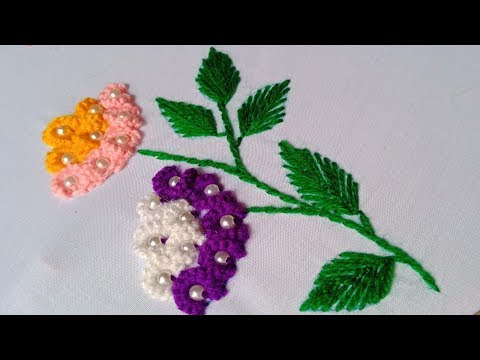 Hand Embroidery #210:Fancy flower embroidery design with beads. Beautiful embroidery flowers