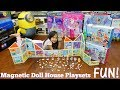 Little Girls' TOYS: Magnetic Dollhouse with Dolls, Pets and Accessories Unboxing and Playtime Fun