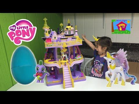 BIGGEST MY LITTLE PONY CASTLE EVER CANTERLOT Huge MLP Surprise Toy Egg Princess Celestia Toys Review