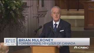 President George HW Bush's funeral - Fmr Canadian PM delivers his eulogy