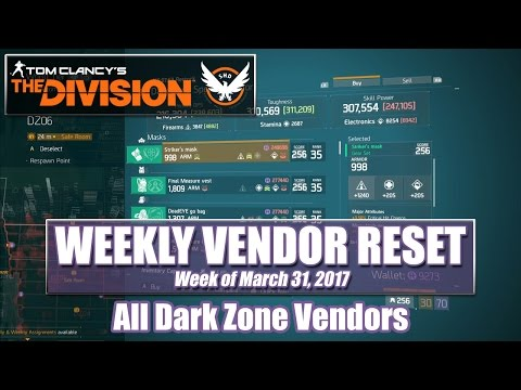 The Division Weekly Reset (03-31-2017) - Dark Zone Vendors