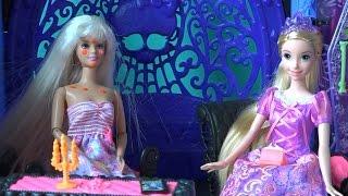 Видео с куклами Барби, серия 427, Рапунцель колдует над прыщом Челси,