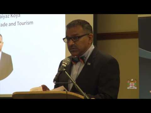 Fijian Minister for Industry, Trade & Tourism speaks at the Fiji Business Forum