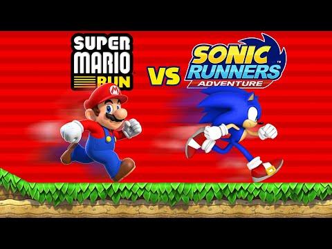 Super Mario Run vs Sonic Runners Adventure [60fps]