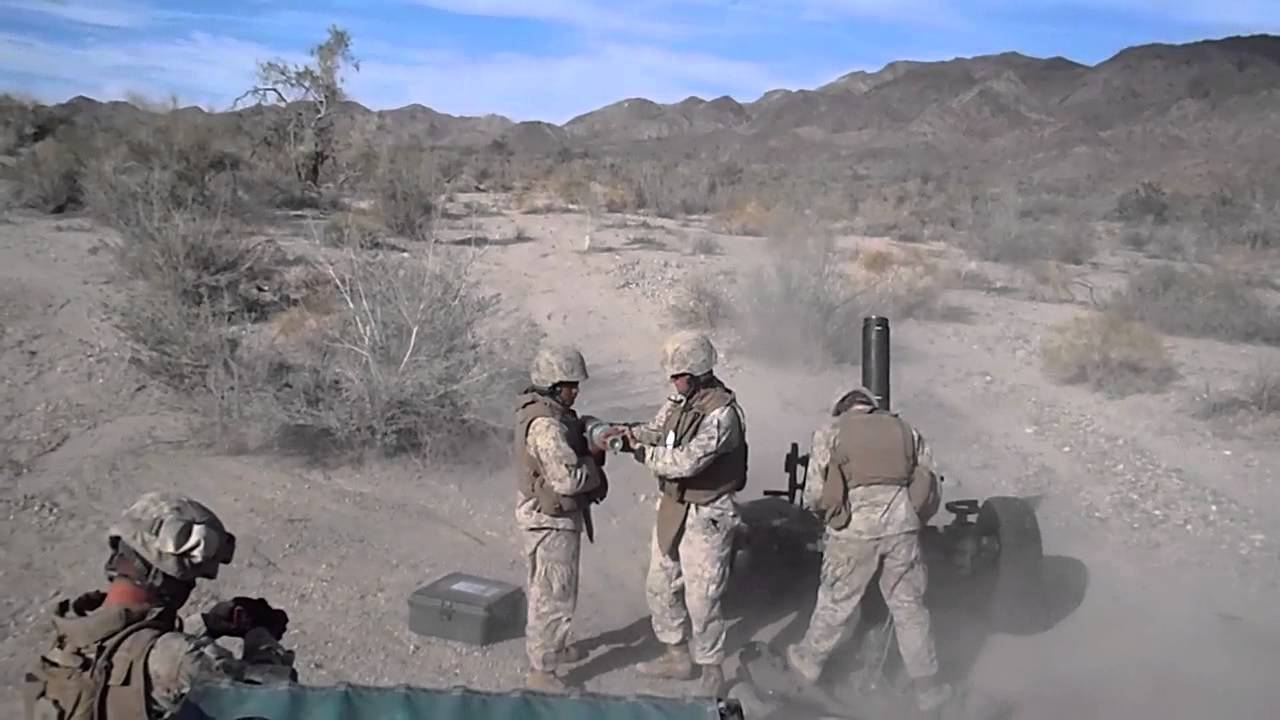 Marine Corps Artillery 120mm Mortar - YouTube
