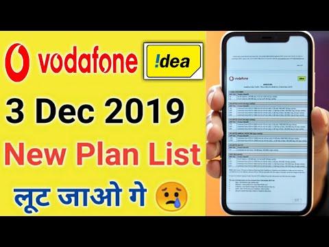 Vodafone Idea New Plan 3 December 2019 ¦Vodafone Idea New Pack Details List¦Vodafone Idea New Charge