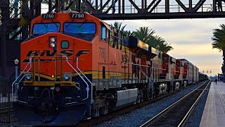 Fullerton RR Days - Freight action, hornshows, and Whistle Battles with ATSF 3751