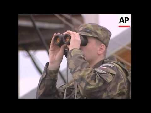 Serb tanks seen from Kosovo-Serb border