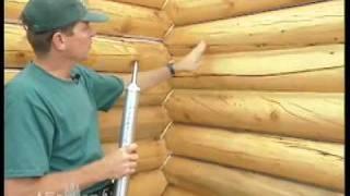Герметизация трещин в бревне.(Система утепления и герметизации срубов и деревянных домов из бревна и бруса. Правильная установка уплотн..., 2011-06-28T09:41:52.000Z)
