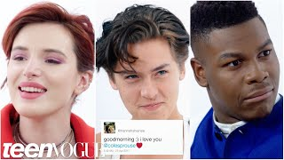 bella thorne cole sprouse john boyega and more compete in a compliment battle teen vogue