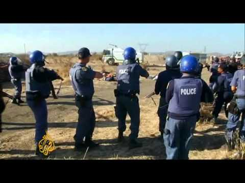 South African miners fired on by police