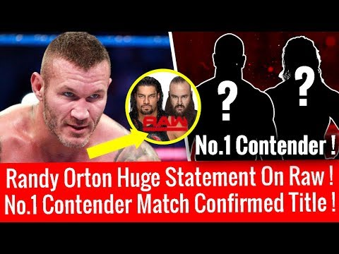 Randy Orton Huge Statement On Raw ! Big No.1 Contender Match Confirmed For Title !