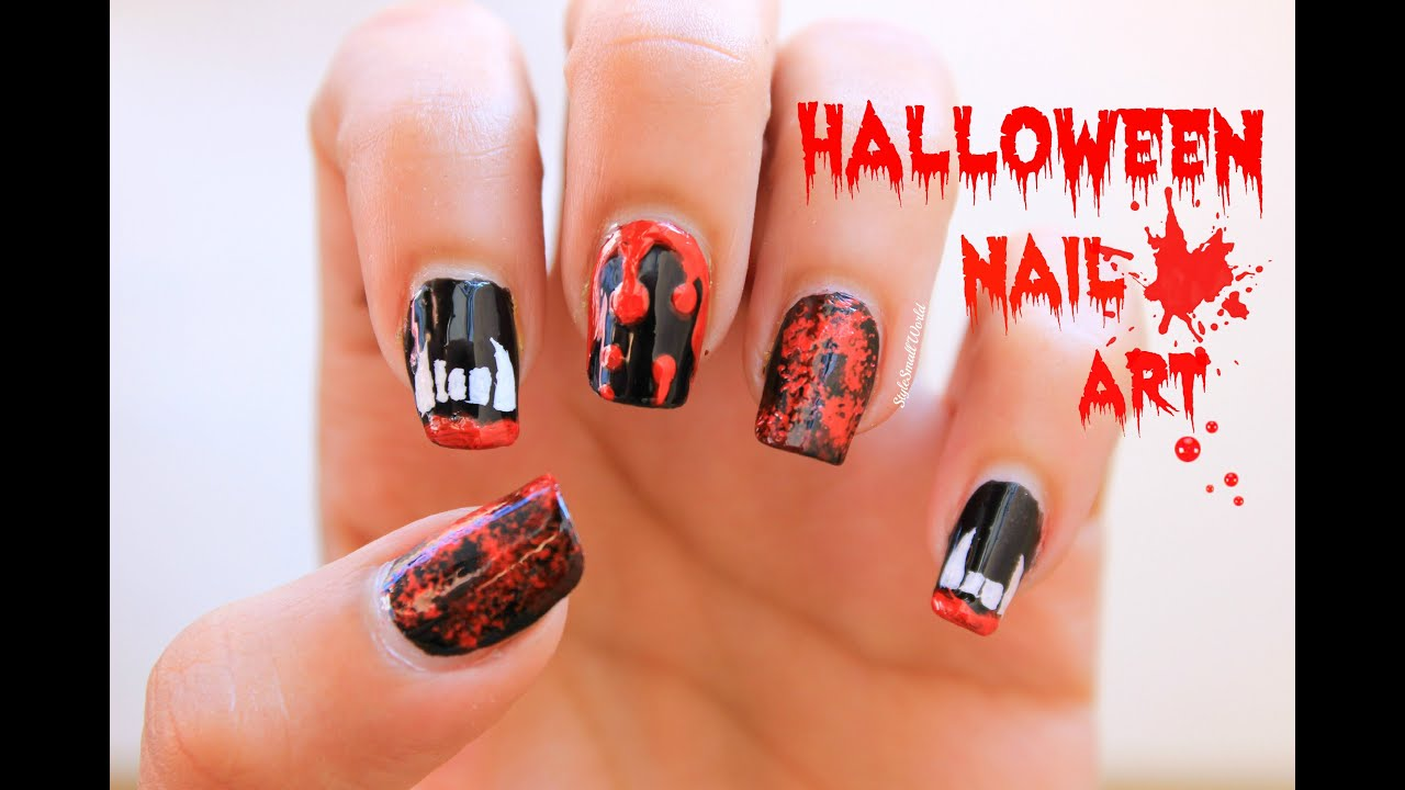 Halloween nail art vampire teeth blood splatter blood dripping halloween nail art vampire teeth blood splatter blood dripping nails for halloween youtube prinsesfo Choice Image
