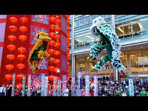 CNY2017~ Acrobatic Double Lion Dance (舞獅 Múa Lân) by Khuan Loke 群乐龙狮团@Suria KLCC (19/1/2017) 4K UHD