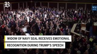 Widow of Navy SEAL receives emotional recognition during Trump's speech