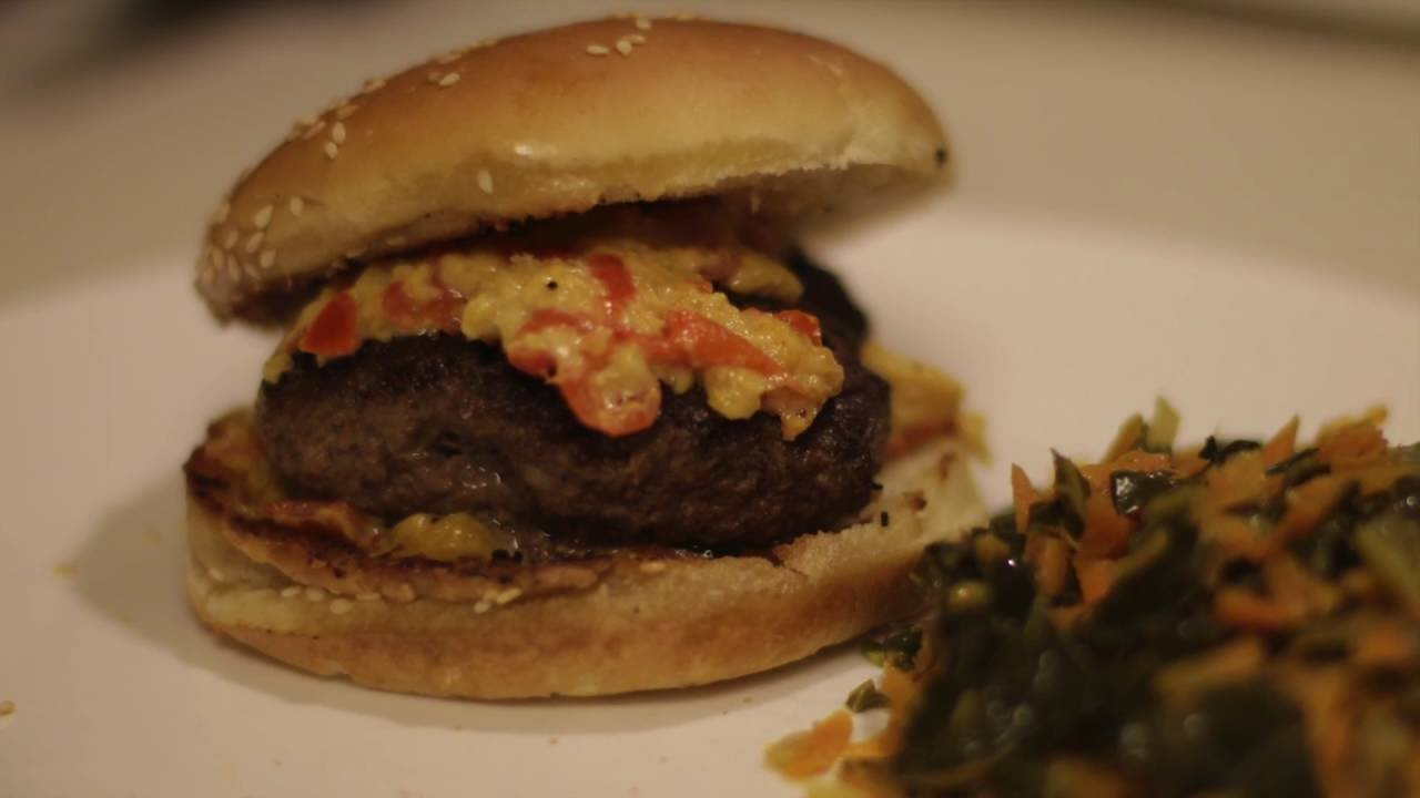Blue apron pork burgers - Pimiento Cheese Burger With Collard Greens Carrot Slaw Blue Apron Proof That Car Guys Can Cook