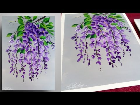 STEP By STEP Painting For Beginners - Easy Acrylic Painting - PURPLE - Simple Floral Painting