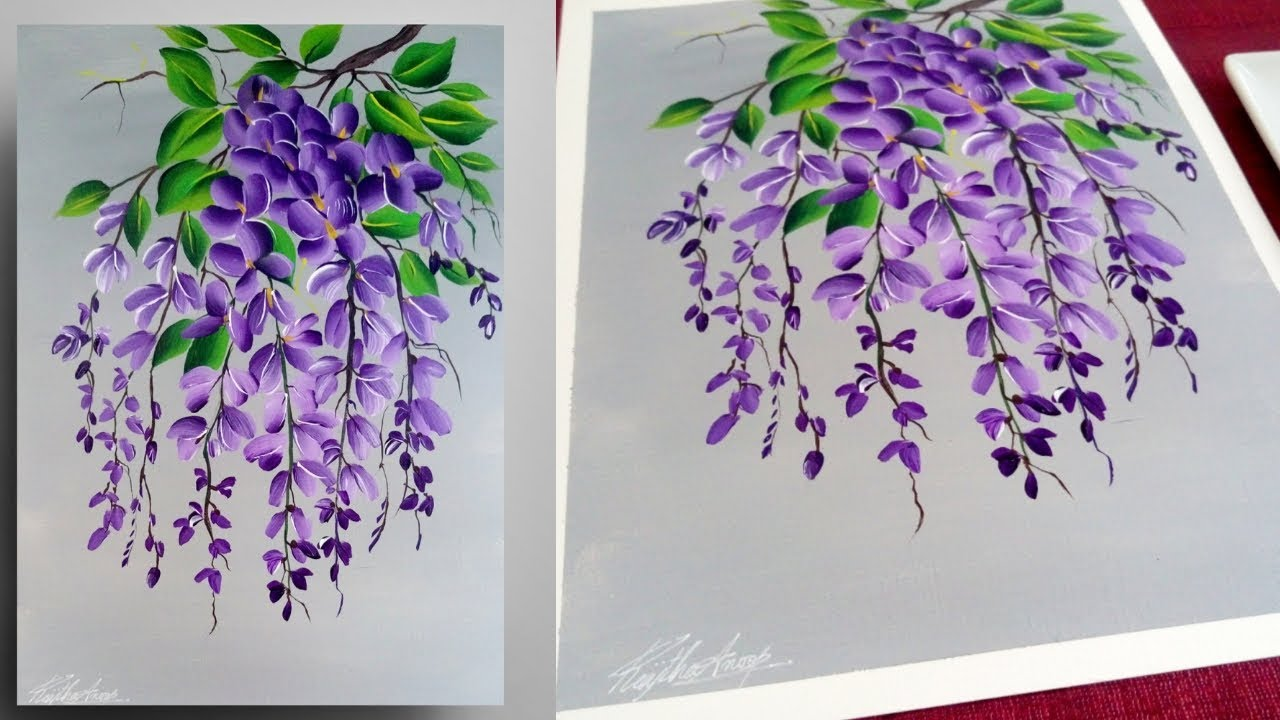 Step By Step Painting For Beginners Easy Acrylic Painting Purple Simple Floral Painting Youtube