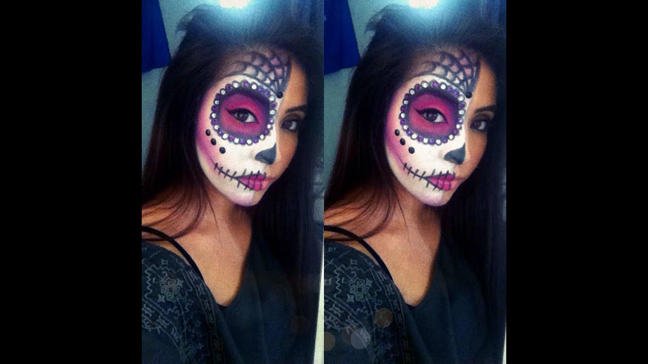 Easy Sugar Skull Tutorial You. Half Face Sugar Skull Makeup Tutorial
