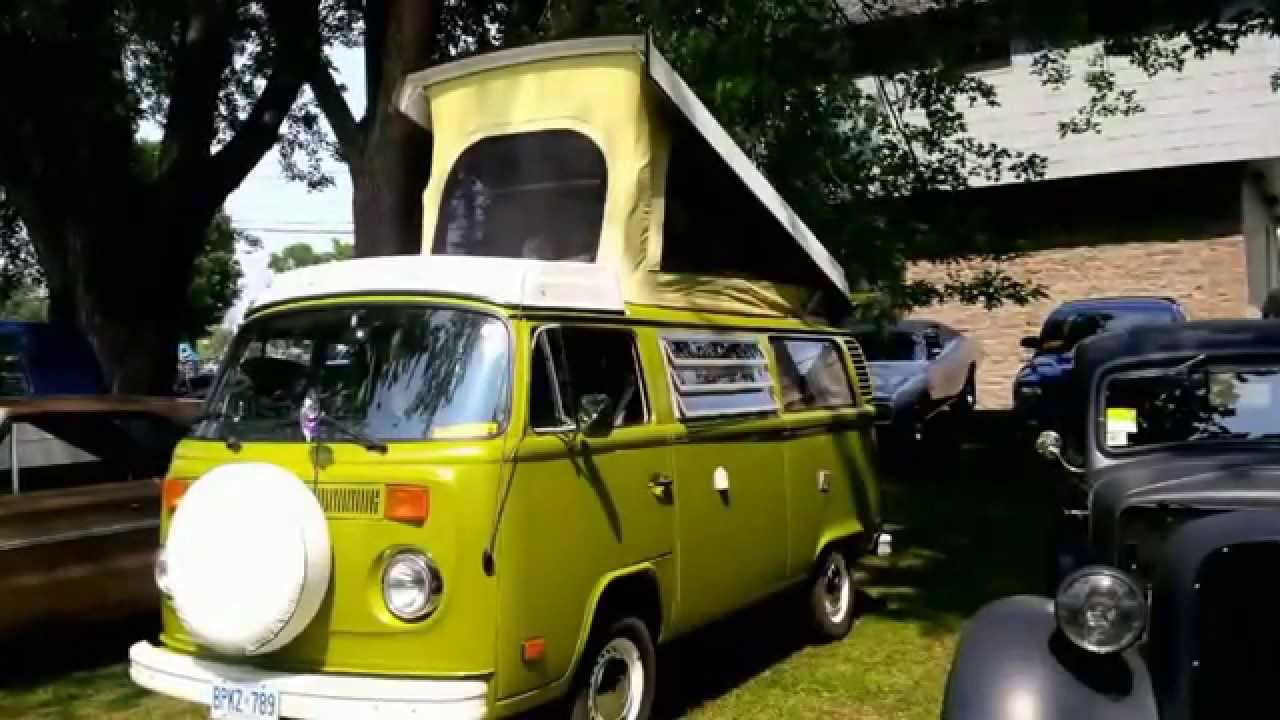Green VW Camper Van At Merrickville On