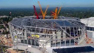 Строительство стадиона Mercedes Benz в Атланте, США Time Lapse