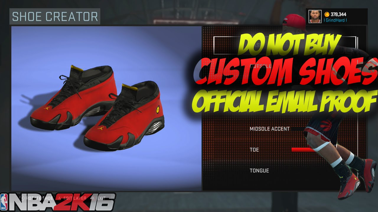 *MUST SEE* - NBA 2K16 DO NOT BUY CUSTOM SHOES (EMAIL PROOF FROM 2K) -  YouTube