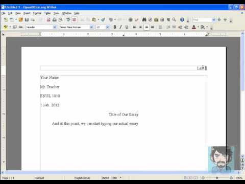 How to set up your paper in MLA format using Open Office - YouTube