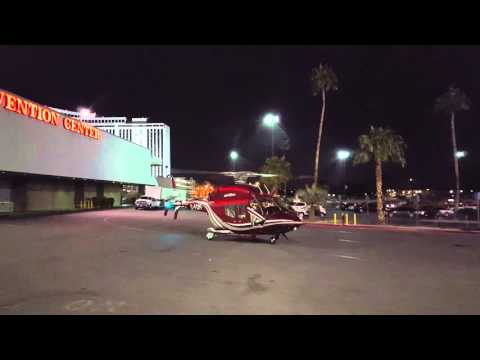 Bell 429WLG Helicopter taking off from the Las Vegas Convention Center