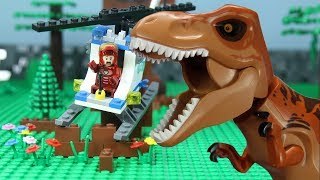 LEGO Jurassic World | [Brick Creation 🔴42] Building a lego helicopter to escape from T Rex attack