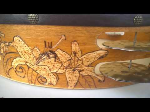 Tammorrarte tammorra fiori e farfalle decorata con - Decorazioni pirografo ...