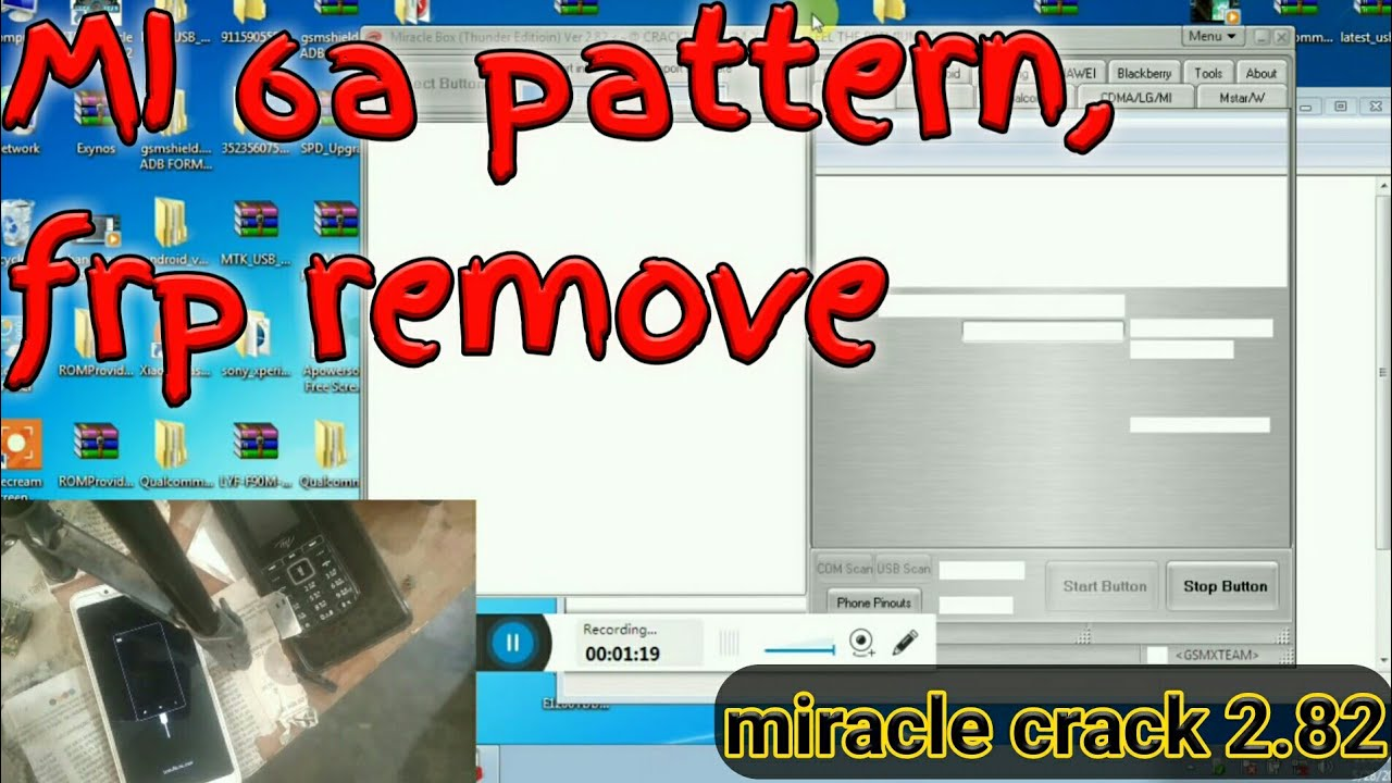 MI 6a unlock pattern, FRP unlock with miracle crack 2 82