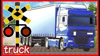 【トラックと踏切 電車④】★いろんなトラックが踏切を通過するよ★ はたらくくるま / Truck and train railroad crossing animation