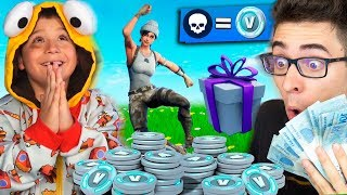 DEI 1000 V-BUCKS FOR EVERY KILL MY COUSIN DID AT FORTNITE!