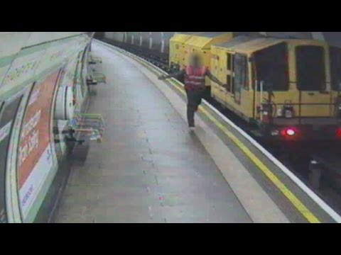 CCTV shows tube worker jumping from runaway train in London