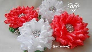 Цветок из органзы на зажим и резинку МК/Канзаши/ DIY Ribbon Flower/PAP Flor da fita#199