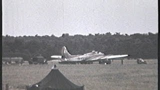 World War Two Footage Life In A Day at Station 109 Podington A B17 comes home in a bad way.