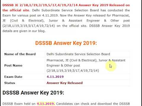DSSSB JE, Pharmacist Answer Key 2019 Out – Download Here