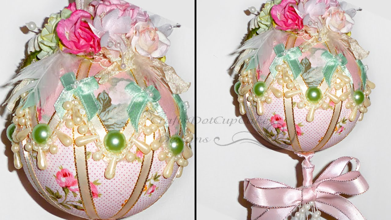 tutorial shabby chic christmas ornament bauble youtube