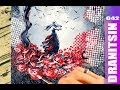 Field of Roses   Fantasy Abstract Painting Demonstration   Plastic Wrap   Emotional   042
