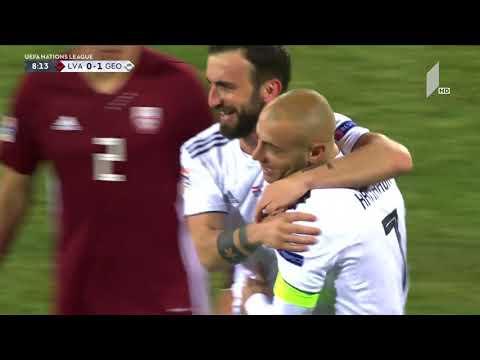Latvia 0 -1 Georgia, Jaba Kankava 7'