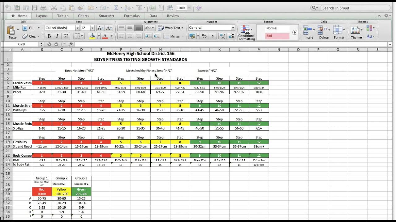 Video Explaining Fitness Testing Student worksheet & charts - YouTube