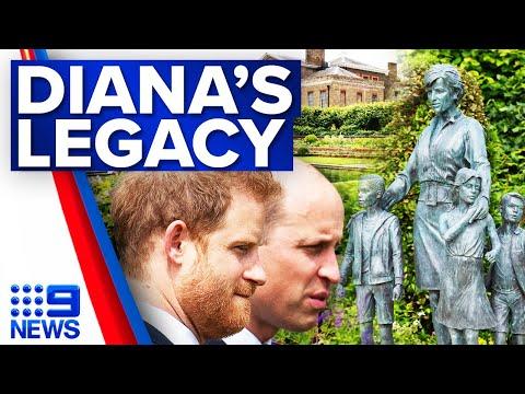Prince William and Harry reunite for Diana statue unveiling | 9 News Australia