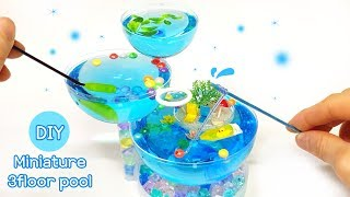 DIY Real Miniature - 3floor swimming pool ! let's play ~