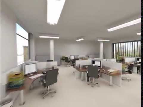 modern open plan interior office space. Interior 3D Animation Of Modern Open Plan Office Space