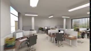 Interior 3d Animation Of Modern Open Plan Office
