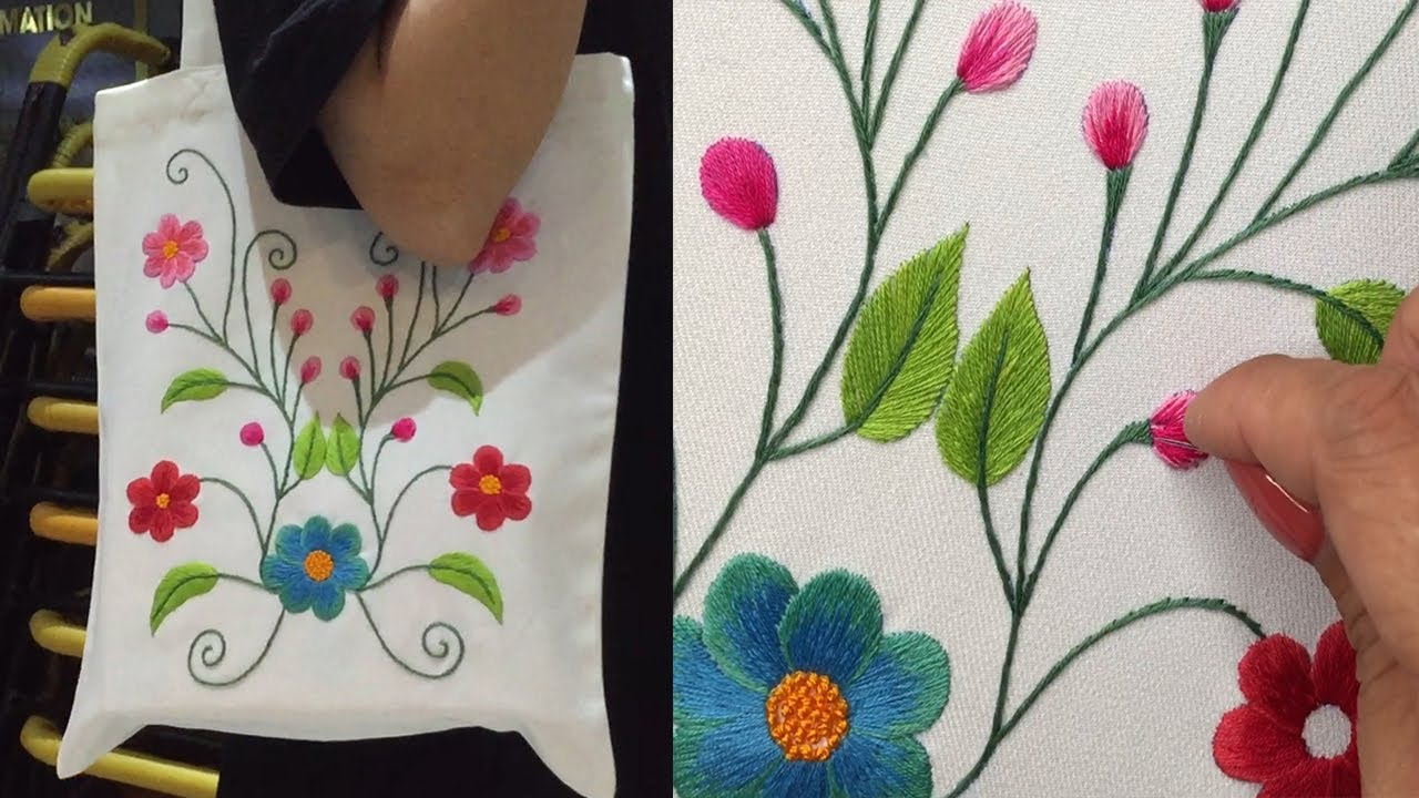 How to Embroider a Tote Bag by Hand - Hand Embroidery Art