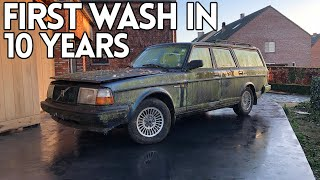 Volvo 240 First Wash After 10 Years Of Sitting In The Woods