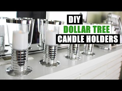 DIY DOLLAR TREE GLAM FAUX MIRROR CHROME CANDLE HOLDERS Easy Z Gallerie Inspired Decor Dollar Store